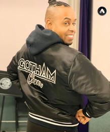 gotham cheer male cheerleader in satin varity team jacket