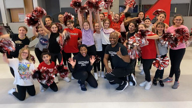 gotham cheer cheerleading clinic with Robert F Wagner Middle School cheer team