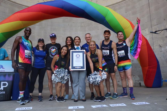 Gotham Cheer pride cheerleaders at the LGBT Pride Run with Front Runners New York and guinness world records