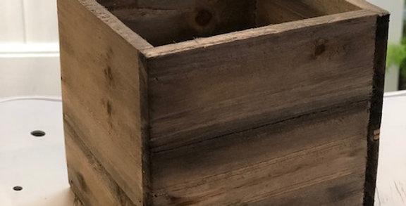wood square vase