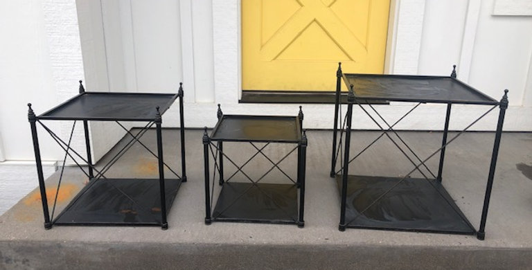 RENTAL: Black wrought iron stands