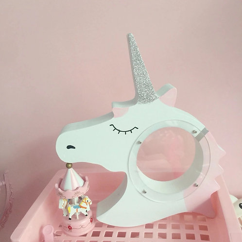 Unicorn Money Box - Pink/Silver