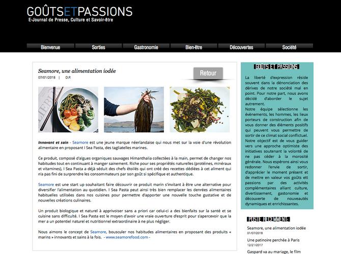 Seamore et I sea Pasta dans https://www.goutsetpassions.com/single-post/2018/01/07/Seamore-une-alime