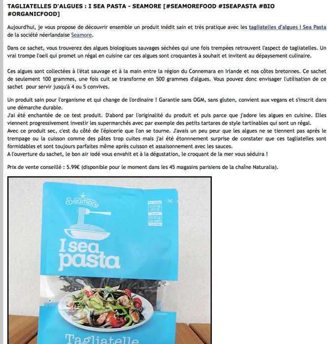 Seamore et ses I sea pasta dans le blog La Cuisine du P'tit Chef : http://papillonmyosotis.canal