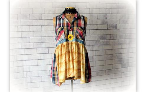 Womens Plaid Blouse Rustic Country Top Shabby Clothing Mori Woodland Shirt M L