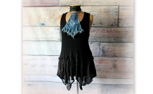 5d641328ca Black Boho Top Denim Halter Shirt Gypsy Clothing Altered Couture Long Tunic  M L