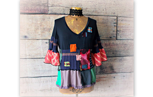 73d351e0d3 Bohemian Tunic Women s Patch Top Peplum Shirt Boho Clothing Upcycle Recycle  M L