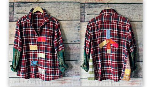 eecfa84f9414 Peace Sign Shirt Plus Size Clothing Plaid Flannel Upcycled Recycle Casual  1X 2X