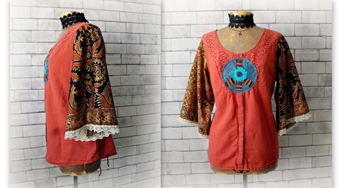 f680dcda3a Funky Hippie Shirt Ethnic Clothing Upcycle Recycle 70 s Peace Sign Earthy L