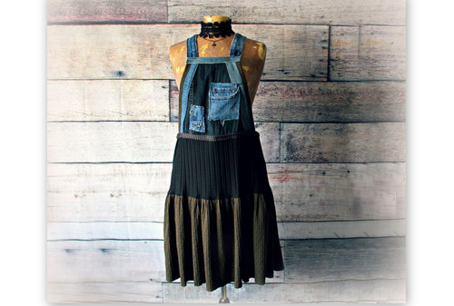 810a4556cc Women's Bib Dress Overall Skirt Upcycled Recycle Urban Jumper Streetwear L  XL