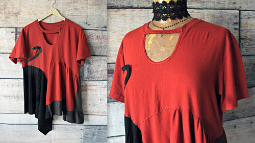 076737c66d5 Lagenlook Style Boho Shirt Draped Fit Upcycled Clothing Bohemian T-Shirt M L