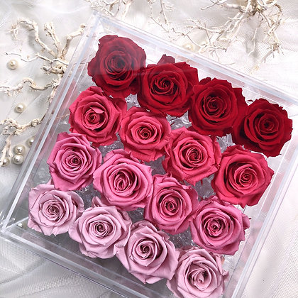 UN-0221 Sixteen Roses in an Acrylic Box (Red & Pink)