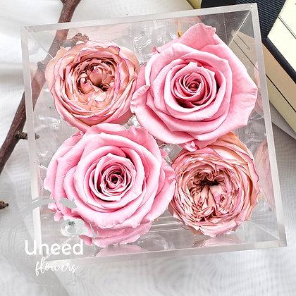 UN-0201 Rose Temari in Acrylic Box Arrangement
