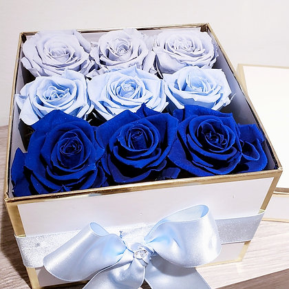UN-0123 Blue Preserved Roses in a Box