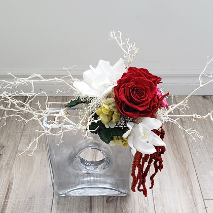 UN-0202 Wine Premium Rose sil branches Arrangement