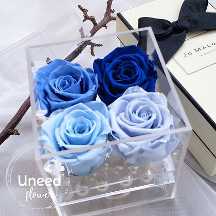 UN-0197 Four Roses in an Acrylic Box (Blue & Purple)