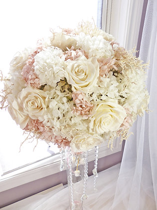 Pearl White and Nude Pink Preserved Roses Centrepiece