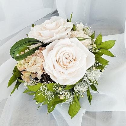 UN-0176 White Rose Matte Black Arrangement