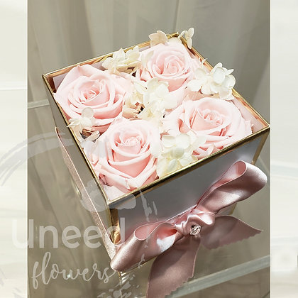 UN-120 Quad Milky Pink Preserved Roses in a Box