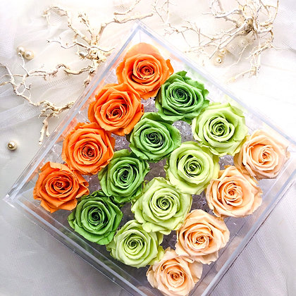 UN-0221 Sixteen Roses in an Acrylic Box (Rainbow)