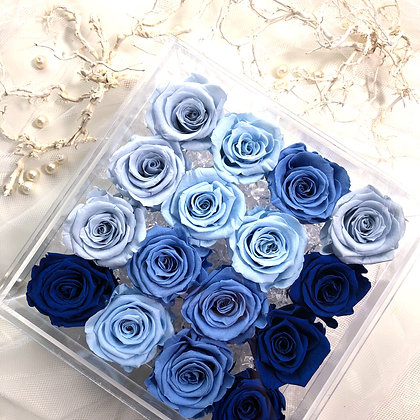 UN-0221 Sixteen Roses in an Acrylic Box (Blue & Purple)