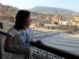 Mafalda Moutinho no riad em Fez.