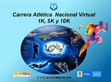 """CARRERA ATLÉTICA NACIONAL VIRTUAL """"FEDECAS"""" 2020 -  1K  5K Y 10K"""