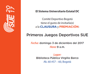 INVITACIÓN - ACTO DE CLAUSURA Y PREMIACIÓN 1R. TORNEO UNIVERSITARIO SUE 2017