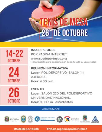 TORNEO UNIVERSITARIO DE TENIS DE MESA SUE 2019
