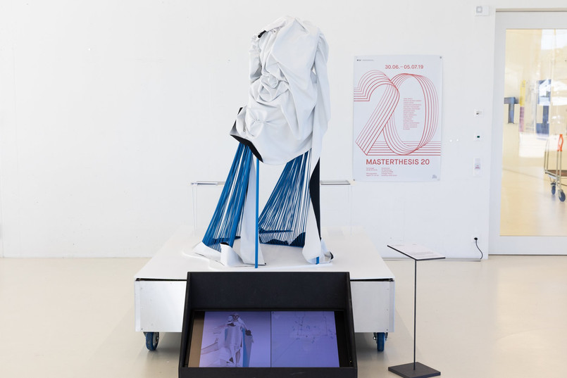 diploma-exhibiton,july 2019, FHNW- academy of arts and design, basel- the virtually generated standard T becomes a physical experience in a 1:1 scale