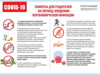 Рекомендации родителям  на период эпидемии новой коронавирусной инфекции