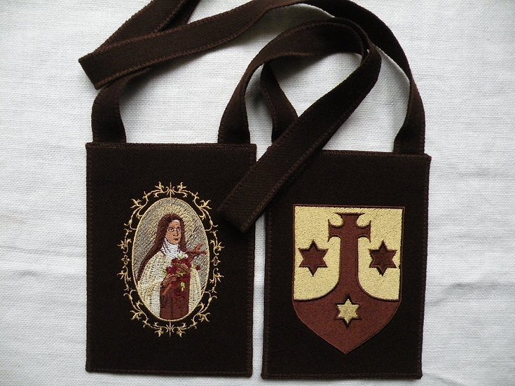 Brown Scapular, Large 5 x 7, St. Therese and the Child Jesus