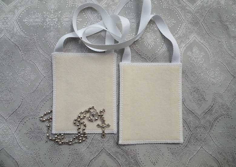 WHITE Scapular* by Mantle Of Mary, 100 %  Woven Wool