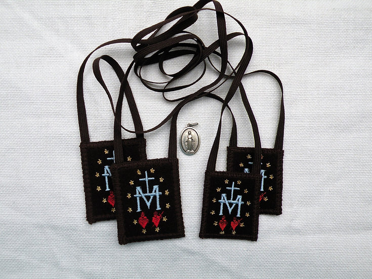 Brown Scapular, Miraculous Medal Design In 4 Sizes