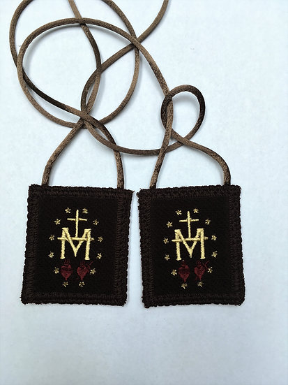 Brown Scapular, Miraculous Medal Design (2 x 2.25 inch Panels)