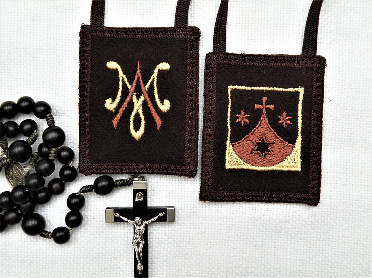 Brown Scapular with Carmelite Crest and Auspice Maria