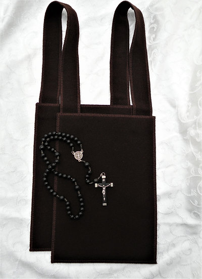 Brown Scapular, Large 7 x 10 with Matching Custom Made Wool Straps ™