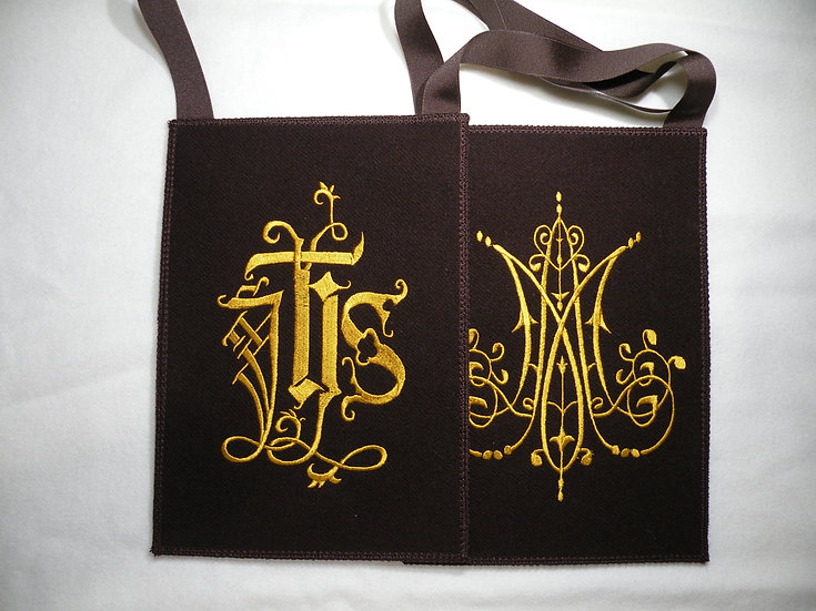 Brown Scapular,  IHS and Marian Monogram
