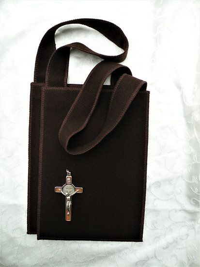 Brown Scapular, Large 8 x 10 with Matching Custom Made Wool Straps