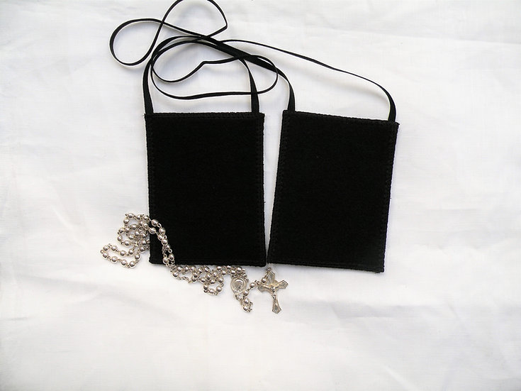 BlacK Scapular of Our Lady of Sorrows, 100 % Woven Wool