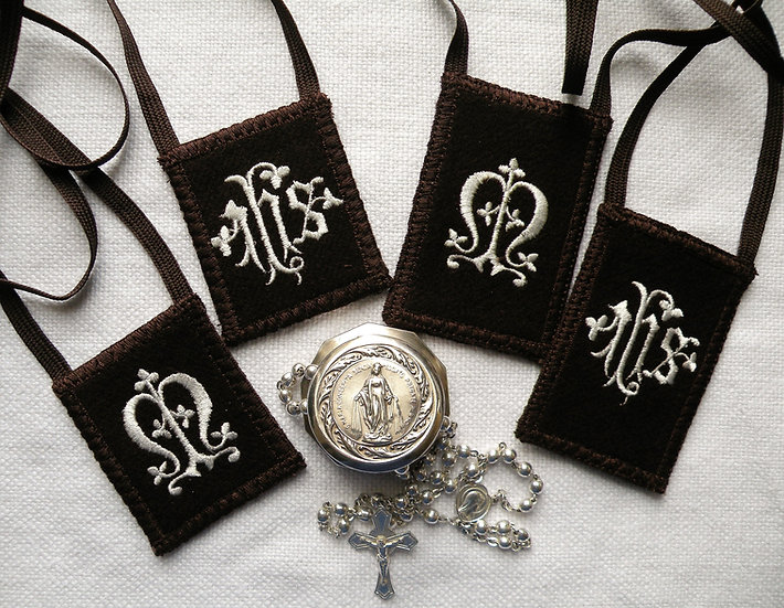 Brown Scapular, Embroidered I.H.S. and Marian Monogram in White