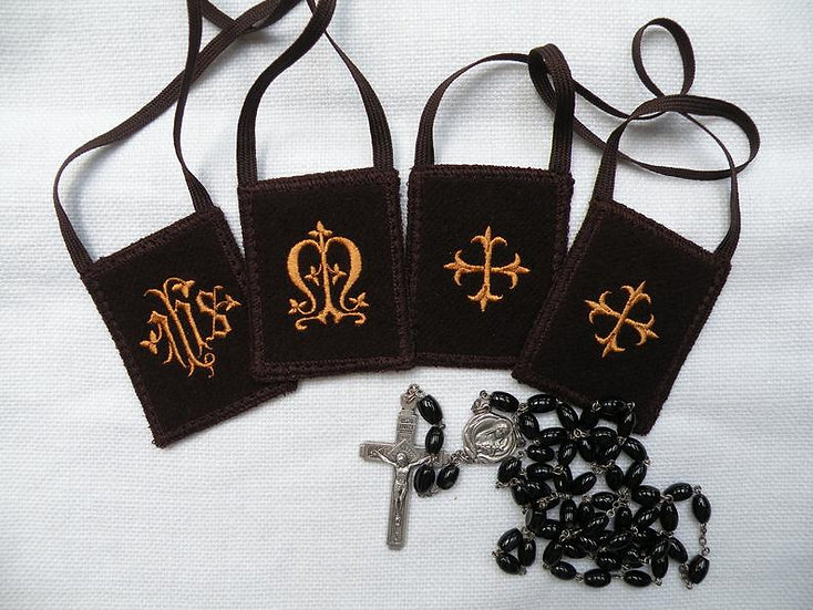 Double Sided Brown Scapular, I.H.S. and Marian Monogram with Cross