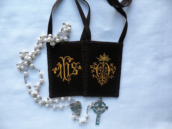 Brown Scapular, I.H.S. and Marian Monogram and Crown