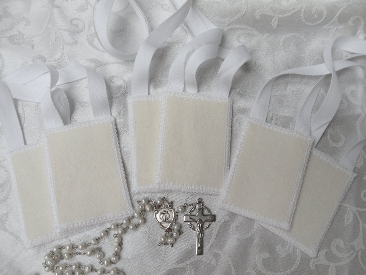 WHITE Scapular* by Mantle Of Mary, 100 % White Woven Wool or Cotton Twill