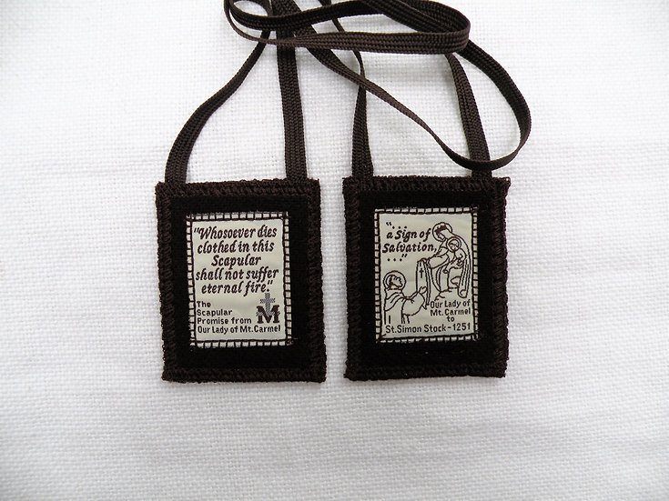 Brown Scapular, 100 Percent Woven Wool with Washable Prints