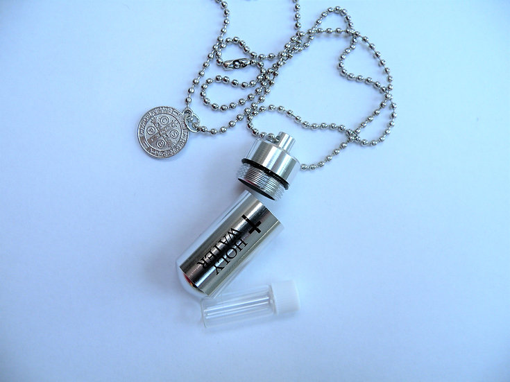 Holy Water Necklace with Container and Saint Benedict Medal