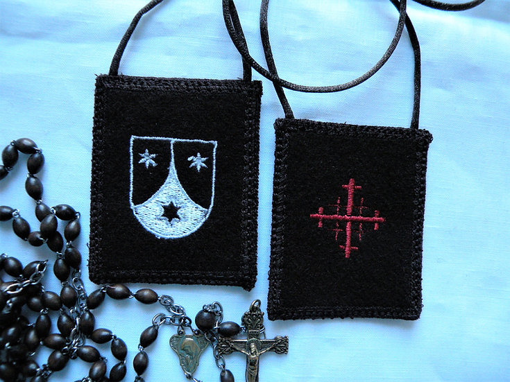 (Brown Scapular,  with Jerusalem Cross and OCarm Shield