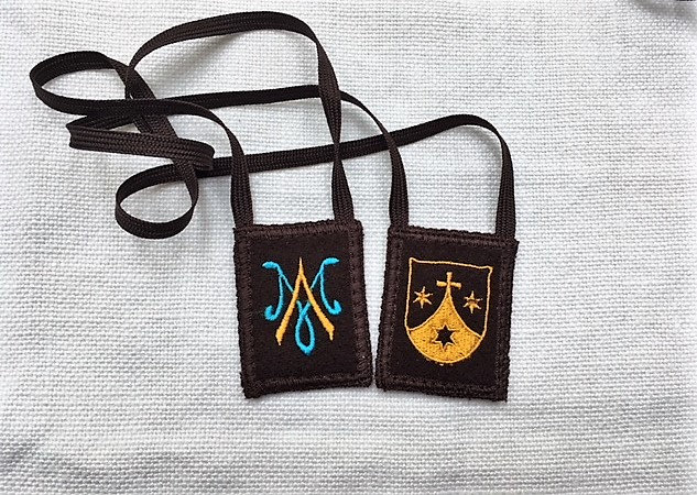 (Item #20) Mantle Of Mary, Woven Wool Brown Scapular, (2 x 2.5 inch size panels)