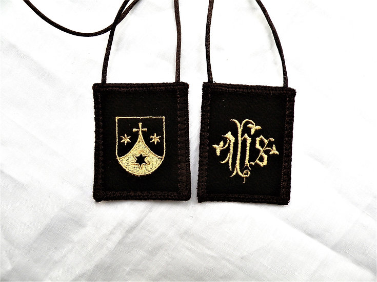 Brown Scapular,  I.H.S. and Carmelite Shield, 2 x 2.5 inch Wool Panels
