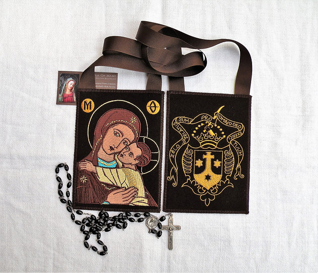 Brown Scapular, Carmelite Crest with Mother Mary and the Child Jesus